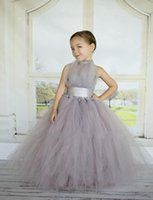 Wholesale Grey Silver Ruched Flower Dress - 2017 Silver Flower Girls Dresses Tulle Halter Empire Tutu Formal Kids Wear For Birthday Party Ruched Sweep Train Ruffles 2015 New Grey