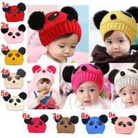 Wholesale Lovely Baby Boy Photos - 10PCS Lovely Animal Panda Baby Boys Girls Crochet Knitting Wool Caps Children Beanie Hats Kids Photo Props Hair Accessories