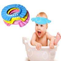 ingrosso cappelli da bagno per bambini-Moda Cuffia per la doccia regolabile per proteggere lo shampoo per la salute del bambino bagnare i bambini Lavare i cappelli di protezione per capelli 7 colori C3075
