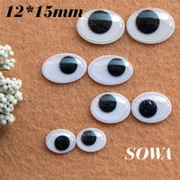 300pcs di trasporto / lot 12x15mm e nero ovale White Design Imitate Occhio di animale bambole Eye For giocattolo fai da te
