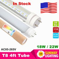 Wholesale Cree Led Usa - Stock in USA - 4ft T8 LED Tube Lights 18W 20W 22W SMD2835 4 Feets Led Fluorescent Bulbs 1200mm 110V-240V CE RoHS FCC