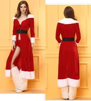Wholesale Santa Dress Adult - Xmas Sexy Christmas Costumes Women Dress Cosplay Costumes For Adults Santa Claus Cloak Costumes Women Cape Winter