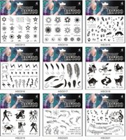 Wholesale Kissing Star - 318 Patterns 17*10.7CM HSC Temporary Water transfer Body Art Tattoo Sticker waterproof black solid color feather skull star kiss cross heart