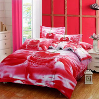 Wholesale Duvet Covers Cherry - 2016 New Design 5D Oil Painting Red Cherry Printed Queen Size 100% Egyptian Cotton Bedding Set Duvet Cover Set