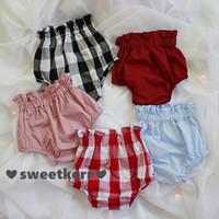 Wholesale Denim Bloomers - INS summer new children shorts girls stripe plaid ruffle high waist shorts kids cotton pp pants children bloomers lantern shorts A8645