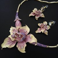 Wholesale Gp Jewelry China - bridal Jewelry set flower flora necklace earrings 18K GP NJ-194 purple Christmas gift