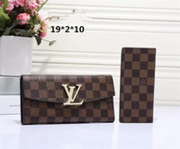 Wholesale Plaid Chain Bags - 2017High-quality leather men and women wallets European-style brand purse designer men women bags zipper hand wallet multiple color optional