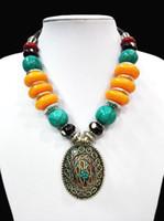 pendentif turquoise trapu achat en gros de-18 '' Collier Pendentif Ethnique Chunky Tibet Argent Brillant Ambre Turquoise Bague oyzz-009