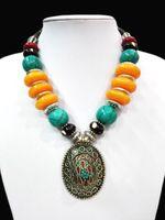 chunky türkis anhänger großhandel-18 '' Ethnische Anhänger klumpige Halsketten-Tibet Silber Hell Bernstein Türkis-Korn oyzz-009