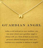 Wholesale White Gold Wing Pendants - With card! Silver and gold color cute Dogeared Necklace with angel wing (Guardian Angel), no fade, free shipping and high quality.