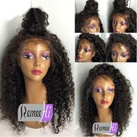 Wholesale Half Wigs Curly - Best brazilian deep curly human hair wigs lace front wigs virgin glueless curly full lace wigs for black women 130%density
