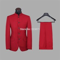 Wholesale Morning Dress Men - Wholesale- Custom Made Groom Tuxedos Stand Collar Red Coffee Men's Wedding Party Suits Groomsman Morning Dress Blazers Jacket +Pants