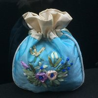 Wholesale Wholesale Jewelry Supply Tool - Small Handmade Ribbon Embroidery Bags Drawstring Satin Cloth Jewelry Coin Makeup Tools perfume Storage Pocket Gift Packaging Pouch 3pcs lot