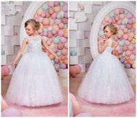 Wholesale Cute Dresses For Children - Cute Ball Gowns Flower Girl Dresses For Beach Wedding With Jewel Neck Appliques Beaded 2016 Custom Made Children Communion Pageant Dress