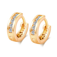 Design simples Crystal Fashion Charm Ear ClipS Versão coreana 18k Real Yellow Gold Plated AAA CZ Earrings for Women