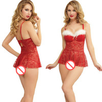 Wholesale Adult Sleepwear Babydolls - Sexy Women Porno Lingerie Red Lace Ladies Cosplay Costume Women Sexy Christmas Lingerie for Adults Nightwear Sleepwear