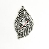 Wholesale diy jewelry feathers - 4pcs Tibetan Silver Plated Feather Leaf Charms Pendants for Bracelet Jewelry Making DIY Necklace Craft 58x32mm