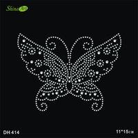 ücretsiz metal kelebekler toptan satış-Ücretsiz kargo Kelebek sıcak düzeltme yapay elmas motifi demir on transferler motifi rhinestones fix demir on motif DIY DH414 #
