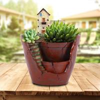 Wholesale Flower Gardens Designs - 1pc Hanging Garden Shape Resin Flower Pot Castle House Design Pot For Planting Bonsai Cactus Succulent Plants Garden Decoration