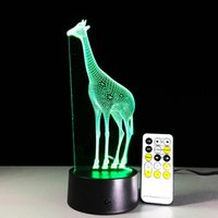 Wholesale Giraffe Lighting - 2016 New Giraffe Illusion Lamp 3D Optical Lamp Night Light Night Light AA Battery DC 5V with IR Remote