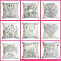 Wholesale new hotel knitting - New Arrive Coloring Vintage Satin Cushion Cover Graffiti Pillow Case Home Decor 45cm*45cm Black Ground Hand Drawing Cushion Cover