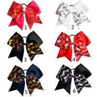 "Wholesale Chevron Hairbands Wholesale - 12 Pcs lot 7.5"" New Fashion Handmade Solid Ribbon Chevron Glitter Cheer Bow with Ponytail Holder for Girls Kids Hair Accessories"