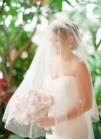 Wholesale mantilla veil sale resale online - New Top Quality Best Sale For Wedding Dresses Fashion Designer White Ivory Cathedral Cut Edge Veil Mantilla veil Bridal Head Pieces