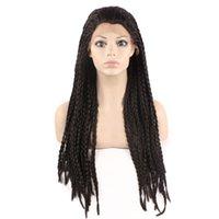 kanekalon al por mayor-Kanekalon del trenzado del pelo peluca llena larga trenzada sintética del frente del cordón pelucas para mujeres Negro, la trenza de la peluca para África América