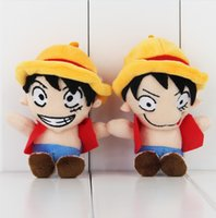 Wholesale Luffy Plush - 12cm Anime One Piece Monkey D Luffy Plush Soft Stuffed Doll Toy for kids gift toy free shipping EMS