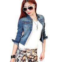 Wholesale denim short jackets wholesale - Wholesale- Women's Fashion Casual Long Sleeve Denim Jacket Jeans Short Autumn Coat Jacket