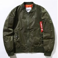 Wholesale L Style Flights - new Puffer Style Thick Army Green Military Flying Ma-1 Flight Jacket Pilot Ma1 Air Force Men Bomber Jacket men thin Jacket