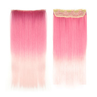"""Wholesale Gradient Hair Extensions - Synthetic Hair Ombre Straight Hair Extensions F11 110g 24"""" 60cm Gradient Clip in Hair Extensions For Fashion Women Cheap Two Tone Ombre Hair"""
