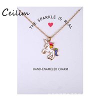 Wholesale wholesale sparkle jewelry - Fashion Jewelry New Arrived Silver & Gold Color Glaze The Sparkled Is Real Unicorn Animal Clavicle Pendant Necklace With Gift Card