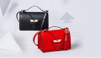 Wholesale Candies Satchels - high quality~w330 genuine leather triangle strap bag black beige pink red tan luxury designer brand lo inspired flop handbag shoulder
