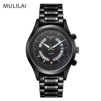 Wholesale Digital Watc - discount! 2017 fashion brand MULILAI stainless steel luxury watch light can automatically bring the calendar quartz men's hand movement watc