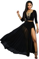 Wholesale European Fashion Long Skirts Women Saias Femininas Black Mesh Sexy High Side Slit Skirt Beach Party Maxi Skirt with Shorts Lining