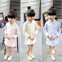 Wholesale Girls Ethnic Dresses - Foreign trade popular 2016 ethnic spring long sleeve robe cheongsam qipao pink beige floral princess chinese dress children girls
