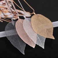 Wholesale Pink Gold Statement Necklace - Women Fashion Unique Necklace Jewelry Charm Pink Black Gold Leaves Real Nature Leaf Pendant Long Sweater Statement Necklace