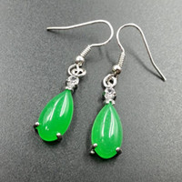 Wholesale Green Jade Sterling Silver - Natural Jade 925 Hook Dangle Water Drop Earring Fine Jade Tear Dropping Green Jade Earrings Jewelry Girl's Gift