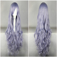 Wholesale Long Grey Wig Heat Resistant - High Quality Beautiful Long Curly Wavy Heat Resistant Soft Rozen Maiden Cosplay Wig Purple Grey Costume Wig