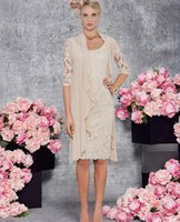 Wholesale Sheath Scoop Knee Length Chiffon - Lace Mother of the Bride Dresses With Wrap Sheath Column Scoop Neck Knee-Length Chiffon Wrap Mother Bride Dresses #DL30085