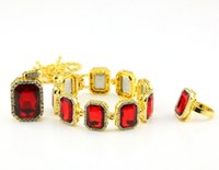 Wholesale Gold Crystal Jewellry - New Brand Hip Hop Jewellry Set Famous Star 18K Alloy Blue Black Red Ruby Necklace Bracelet Ring Men Bling Bling Chains Big Size