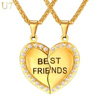 Wholesale Unique Couplings - unique New Couple Pendant Forever Best Friend Heart Necklace Gold Plated Stainless Jewelry Necklace Girlfriend Brother Necklace P821