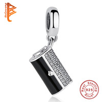 BELAWANG 100% 925 Sterling Silver Clutch Bag Dangle Charm Black Enamel CZ Charms Fit Pandora Charm BraceletsBangles DIY Jewelry Making