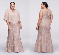 Wholesale mother bride full length wedding dress for sale - Group buy 2017 Vintage Cheap Mother Of the Bride Dresses Jewel Neck Champagne Full Lace Mermaid Crystal With Wrap Plus Size Formal Wedding Guest Dress