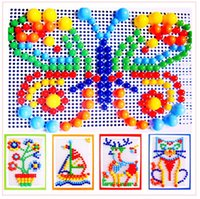 Wholesale Patterns Puzzles - Creative Toys Patterns Mosaic Pegboard Packed 296 Mushroom Nails Jigsaw Puzzle Toy Colorful Baby Gifts Free shipping