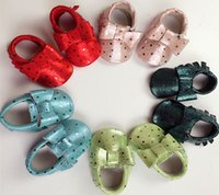 Wholesale Bright Dots - Newest infant pearly lustre leather shoes shiny dot moccasins candy color bright moccasin with double layer bow soft sole Fedex UPS free