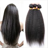 i̇talyan saç örgüsü toptan satış-Moğol İtalyan Kaba Yaki Saç Atkı 100% İnsan Saç Dokuma Doğal Renk 8A Işlenmemiş Afro Kinky Düz İnsan Saç Uzantıları