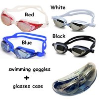 Wholesale Electroplated Goggles - Anti Fog Uv Protected Waterproof Electroplating men women Swimming Equipment Goggles Glasses Swim Eyewear with box L61