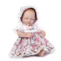 "Wholesale Kids Silicone Doll Mini - Wholesale- 11"" Full Silicone Body Lifelike Mini Girl Reborn Doll with Lovely Dress for Kids Gift"
